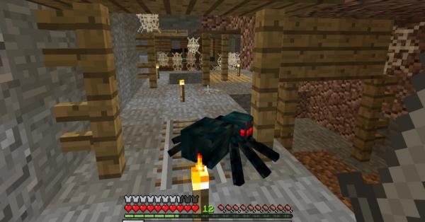 マイクラ 洞窟グモ戦闘