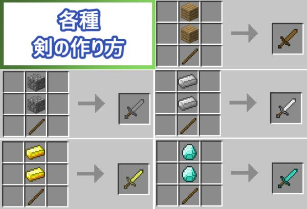 マイクラ 剣の作り方一覧