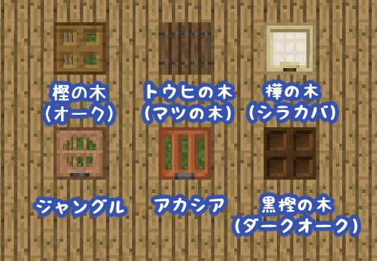 マイクラ 各種木のトラップドア