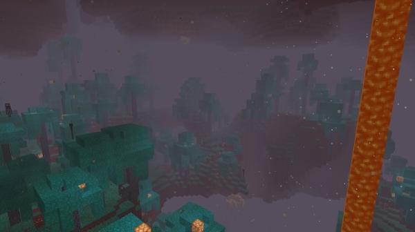 マイクラ 玄武岩の三角州から見た歪んだ森