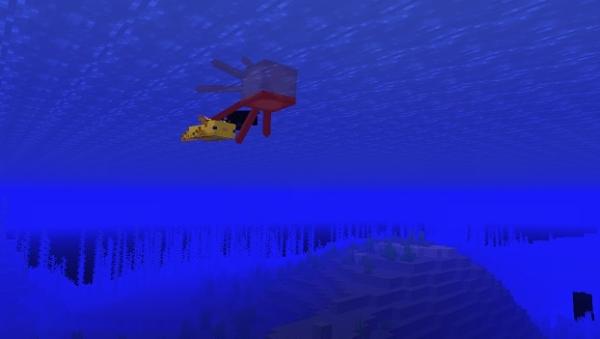 マイクラ イカを襲うウーパールーパー