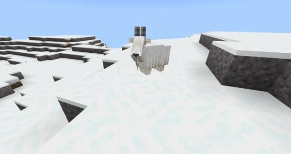 マイクラ 雪の降る山岳バイオームとヤギ
